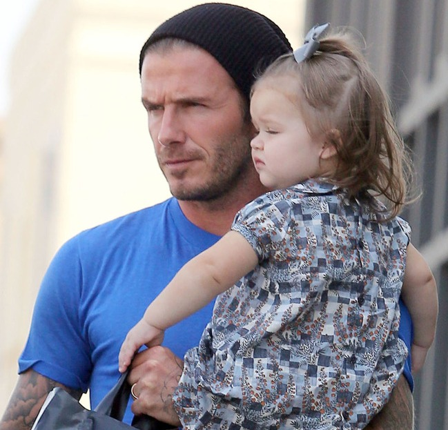 Doting dad Becks treats adorable Harper to lunch in Los Angeles