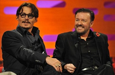 Fans find Johnny Depp looks better than Ricky Gervais