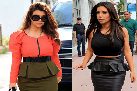 Kim and Kourtney Kardashian don matching skirts for shopping trip in Miami
