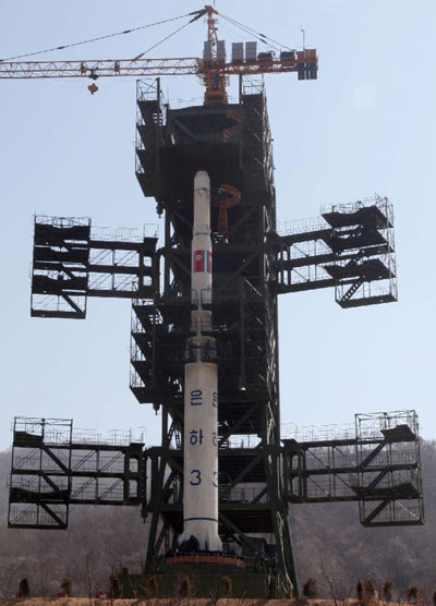 DPRK places long-range rocket into position for launch