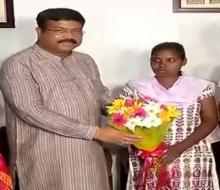 Odisha: Dharmendra Pradhan felicitates Adivasi girl for passing matriculation