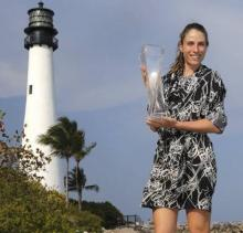 Konta beats Wozniacki to become first British woman to lift Miami Open title